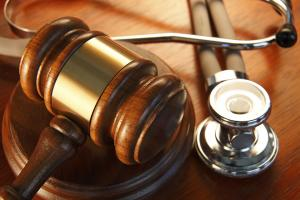 Photograph of a gavel and a stethoscope