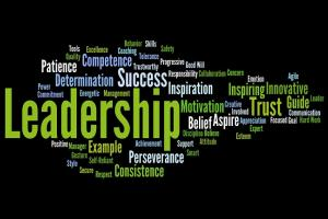 "Image of a ""word cloud"" highlighting leadership as the largest word"